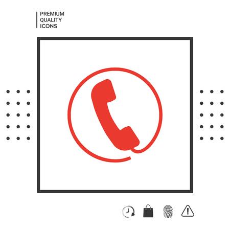 Telephone handset surrounded by a telephone cord - icon . Signs and symbols - graphic elements for your design Иллюстрация
