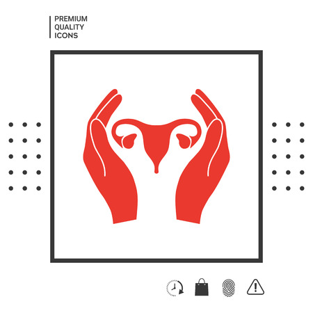Hands holding Female uterus - protection icon . Signs and symbols - graphic elements for your design