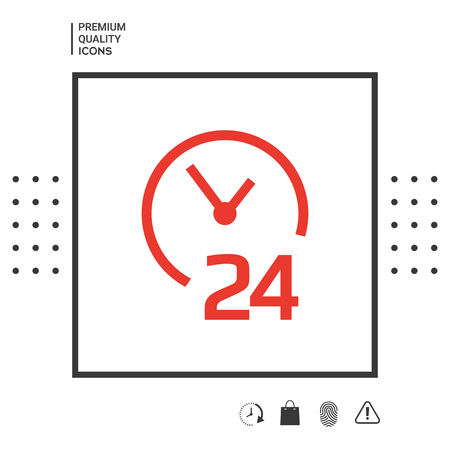 Open around the clock icon. Opening hours symbol icon . Signs and symbols - graphic elements for your design