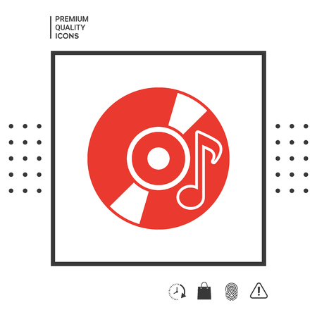 CD, DVD with music symbol icon. Element for your design . Signs and symbols - graphic elements for your design