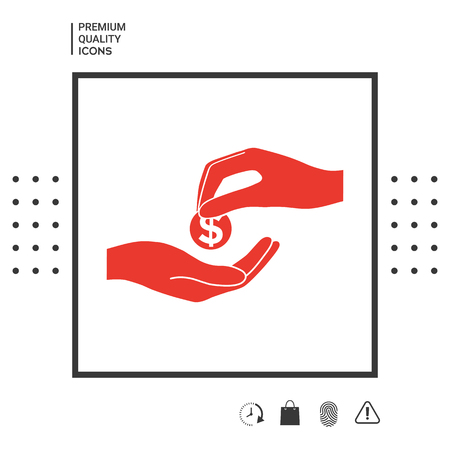 Receiving money icon in white square on white background with icon, app. Illustration