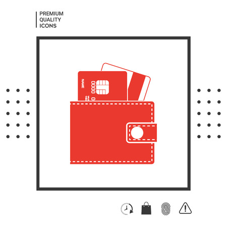 Wallet with credit cards inside icon in white square on white background with icon, app.