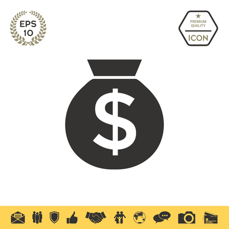 Bag of money icon with dollar symbol Vectores