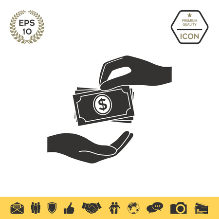 Receiving money banknotes stack icon. Cash stacks money banknotes Illustration