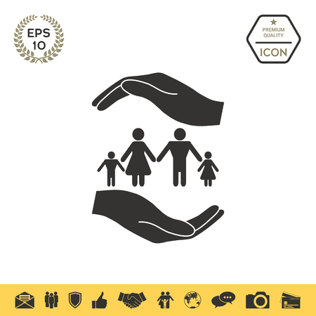 Hands holding a symbol of family. Family protect icon