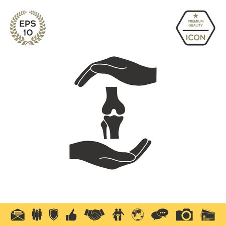 Hands holding knee-joint - protection symbol Ilustrace