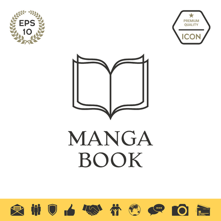 Elegant icon with book symbol with pages