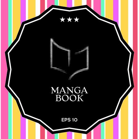 Elegant halftone logo with book symbol. Element for your design Illustration