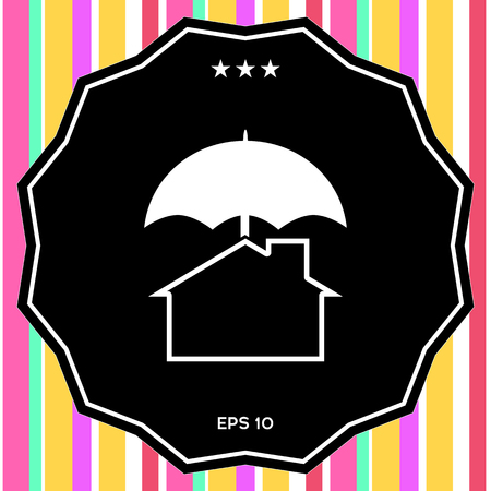 Security and protection icon. Home under umbrella . Signs and symbols - graphic elements for your design