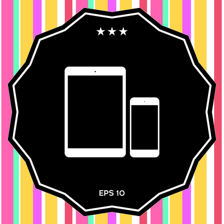 Business Phone and Tablet with blank screens. Element for your design Illustration