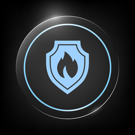 Shield with fire sign - protection icon Vectores