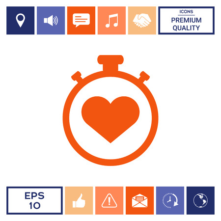 Stopwatch with heart symbol - icon. Heart Timer sign Illustration