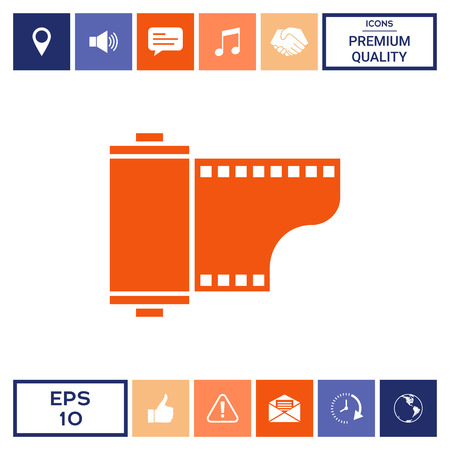 Photographic film cassette icon . Signs and symbols - graphic elements for your design
