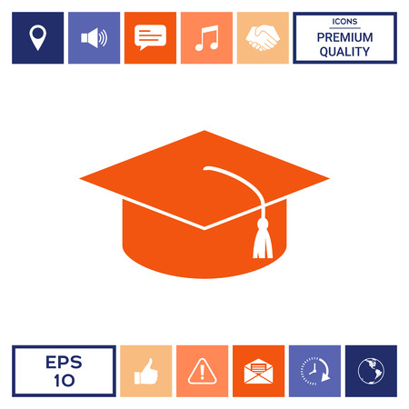 Master cap for graduates, square academic cap, graduation cap icon