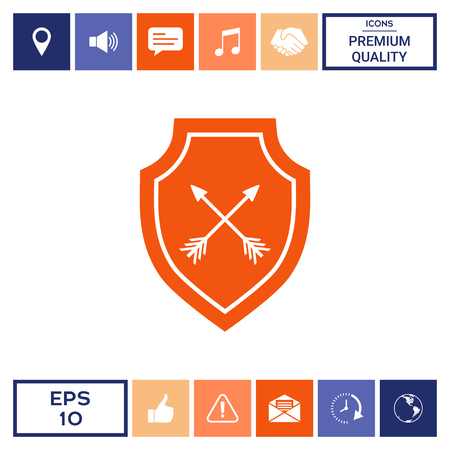 Shield with arrows. Protection icon Stock Vector - 101445375