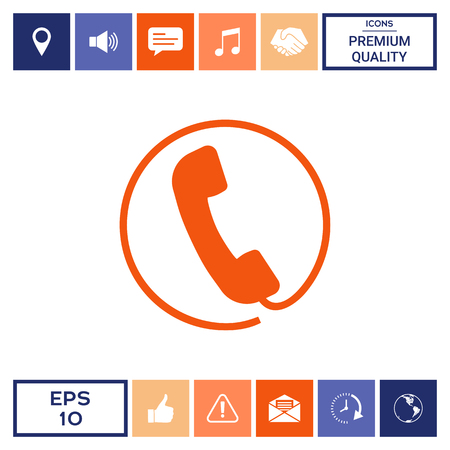 Telephone handset surrounded by a telephone cord - icon Vectores