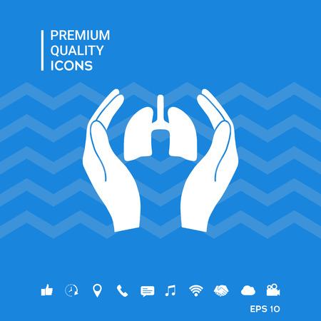 Mani che tengono polmoni - Protezione Icona