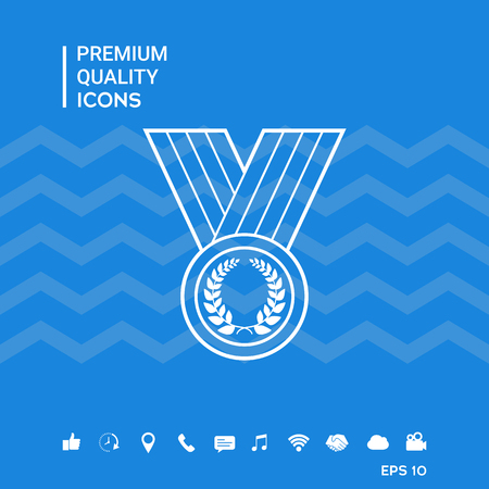 Medal with Laurel wreath, line icon