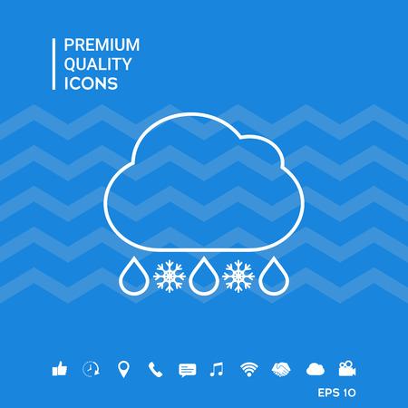 Cloud rain snow line icon