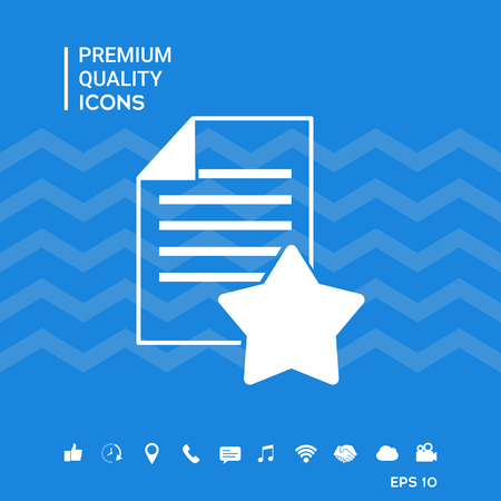 Warranty sheet of paper with a star. Icon