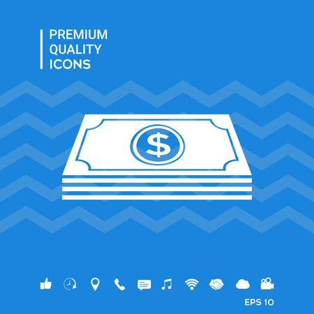 Money banknotes stack with dollar symbol - icon Vectores