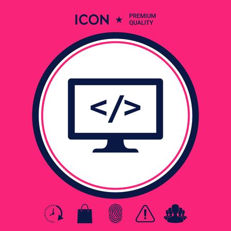 Codificación icono símbolo Foto de archivo - 102130326