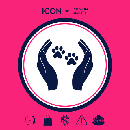 Shelter pets sign icon. Hands holds paw symbol. Animal protection
