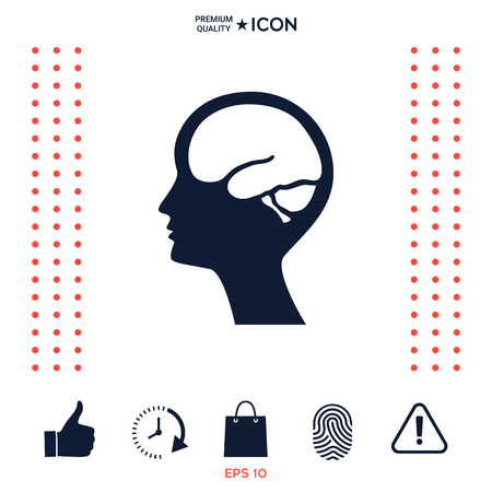 Head with brain symbol icon