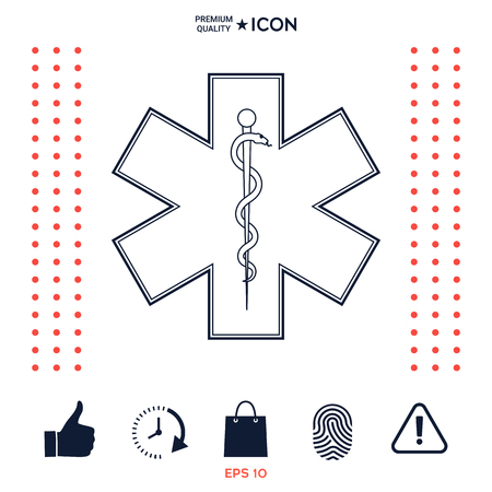 Medical symbol of the Emergency - Star of Life Çizim