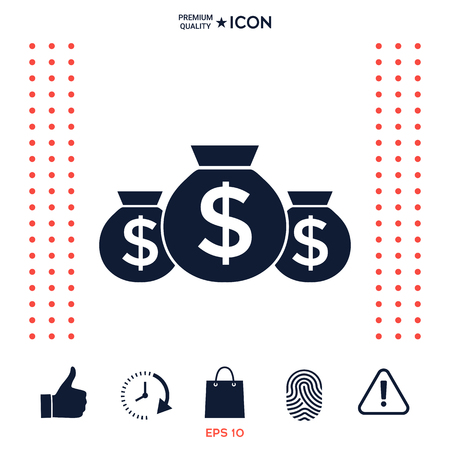 Bags of money icon with dollar symbol Illustration