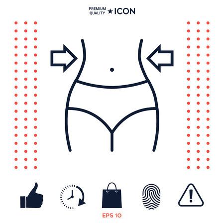 Women waist, weight loss, diet, waistline line icon 免版税图像 - 102354810