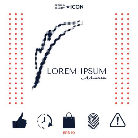 Elegant halftone logo with Fountain pen