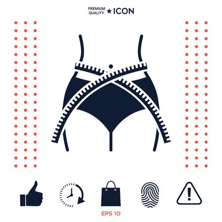 Women waist with measuring tape, weight loss, diet, waistline - icon 免版税图像 - 102350690