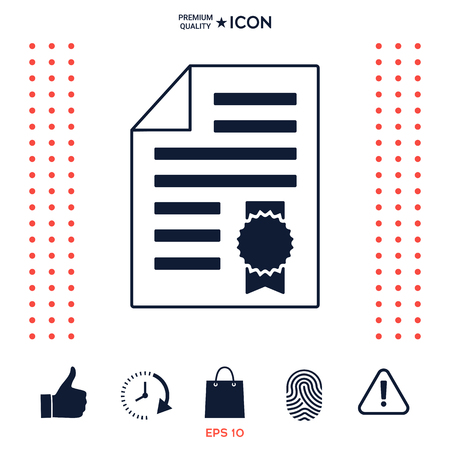 Warranty sheet of paper with a medal. Icon