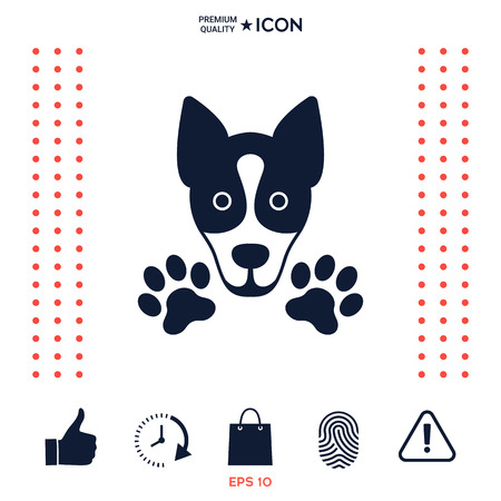 Dog, paw - logo, symbol, protect sign Illustration