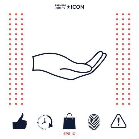 Open hand - line icon