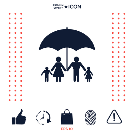 Family under umbrella - Family protect icon