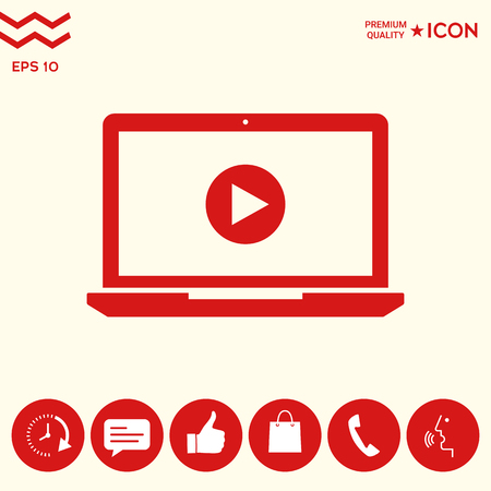 Laptop with play button Icon