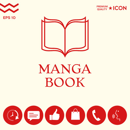 Elegant logo with manga book symbol with pages