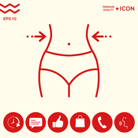 Women waist, weight loss, diet, waistline - line icon Illustration