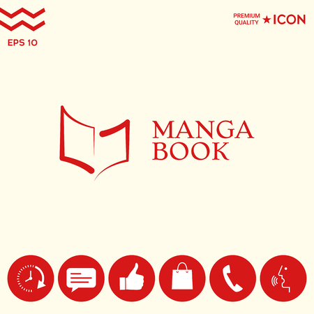 Elegant logo with manga book symbol like brush stroke Vectores