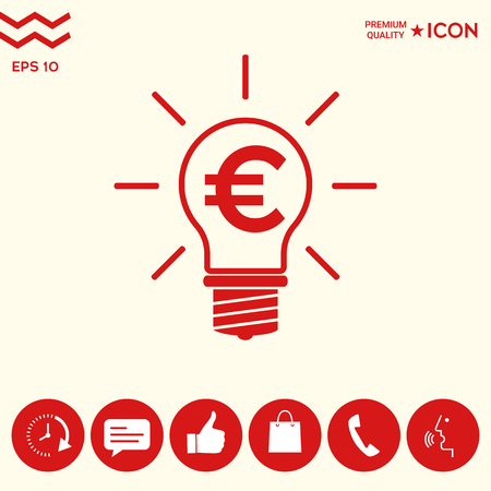 Light bulb with euro symbol business concept Vectores