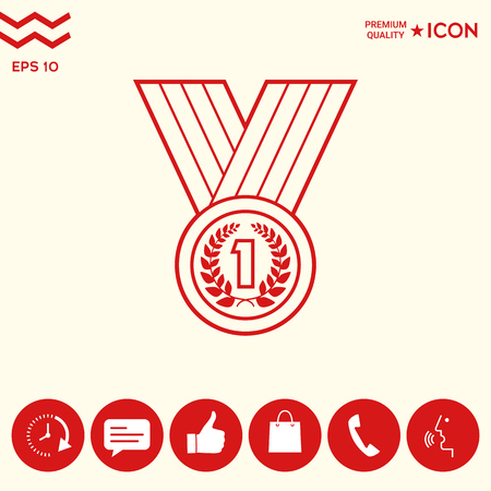 Medal with Laurel wreath. Line icon