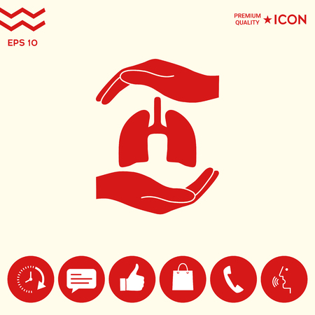 Hands holding lungs - protection symbol Stock fotó - 102391239
