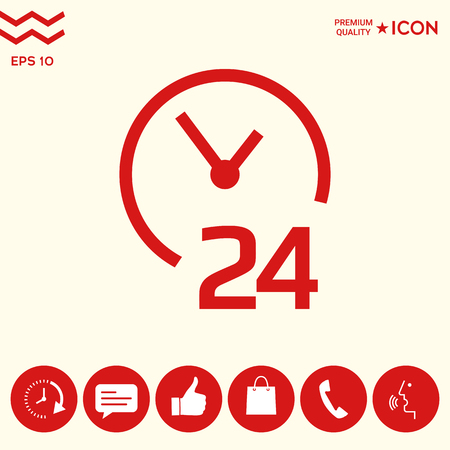 Open around the clock icon. Opening 24 hours symbol icon Stock Illustratie