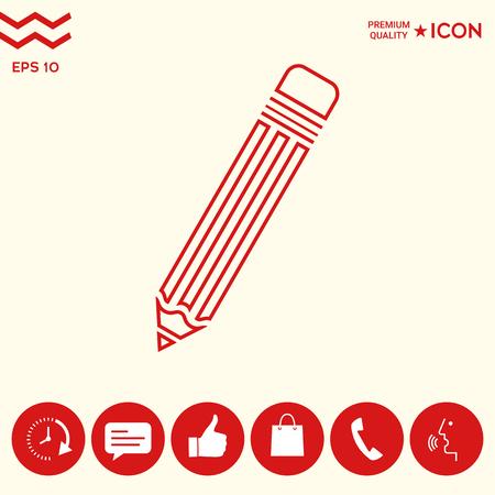 Pencil - line icon Illustration