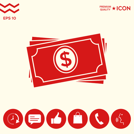 Money banknotes stack icon