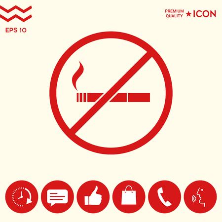 Icona di divieto di fumo, fumo. Sigaretta - segno di divieto