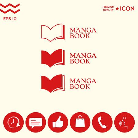 Set of Elegant logo with manga books symbol Stock Illustratie