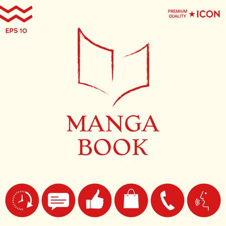 Elegant logo with manga book symbol like dry brush stroke